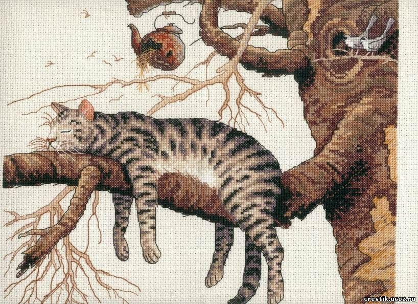 Кот на дереве - схема вышивки