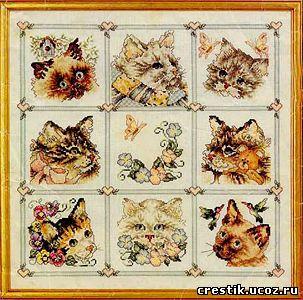 Cхема вышивки крестом кошки