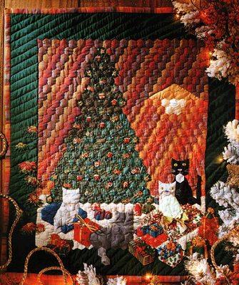 новогоднее лоскутное панно из лоскутного блока шестиугольников своими руками