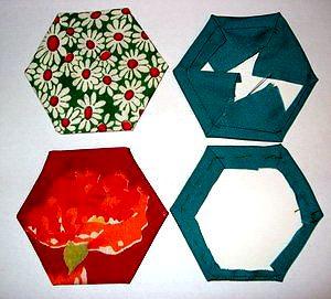 элементы лоскутного блока бабушкин сад на картонных шаблонах