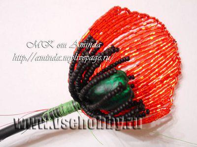 сборка цветка мака из бисера