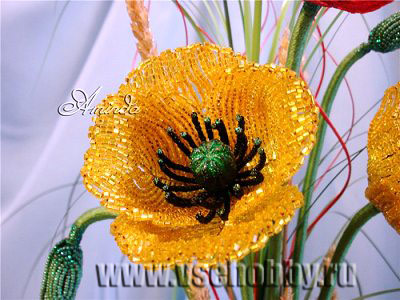 цветок из бисера мак своими