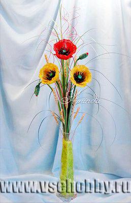 букет цветов мака из бисера своими руками мастер-класс