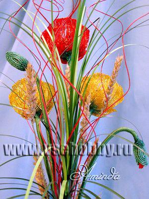 букет цветов мака из бисера своими руками вид сзади