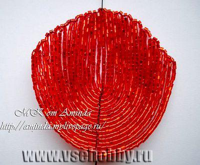 лепесток мака из бисера плетение дугами по принципу Масленниковой
