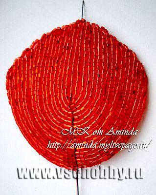лепесток мака из бисера плетение дугами виж с другой стороны
