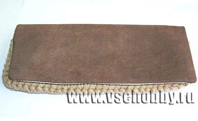 клапан сумки клатча из куска кожи от старой куртки