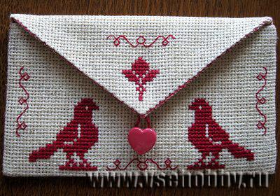 конверт для любимого с вышивкой крестом