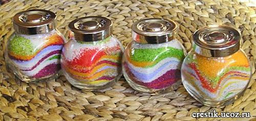 Баночки с цветным песком