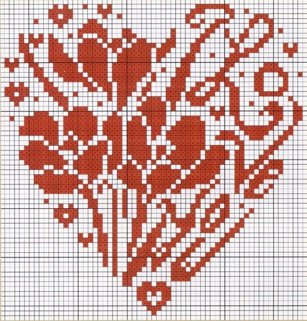сердце вышивка