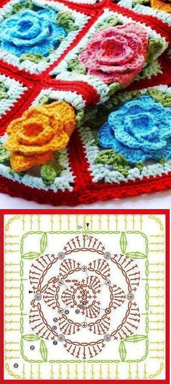 Объемные розы крючком