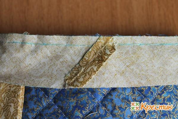 Сшиваем потайным швом косую бейку