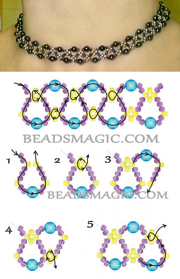 Схема ожерелья из бисера