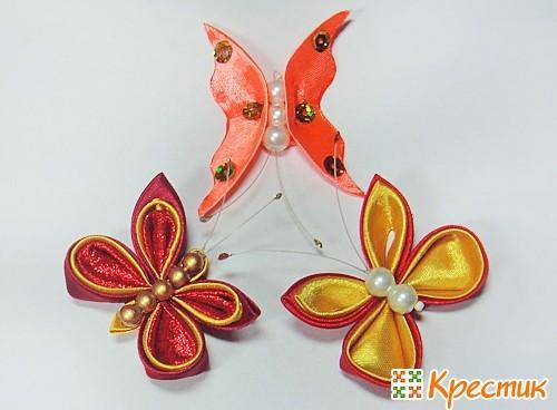 Бабочки-канзаши из атласных лент