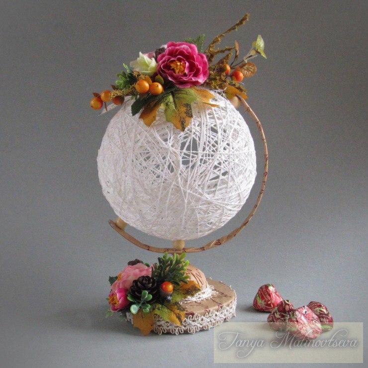декоративный глобус из ниток