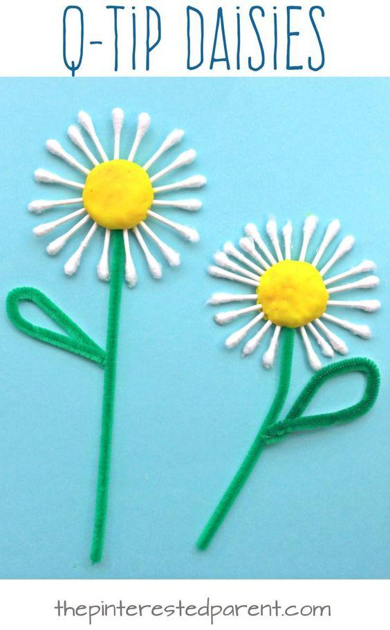 цветы из ватных палочек своими руками
