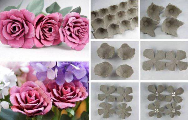 Процесс создания розы из яичного лотка