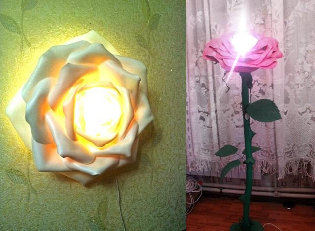 Бра или торшер – большой цветок из изолона займет центральное место в декоре комнаты