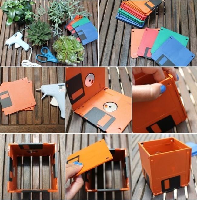 подставка для цветов из дискет