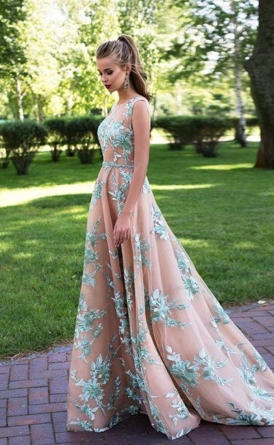 Пыльно-мятное платье на выпускной