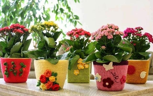 вязаные кашпо для цветов