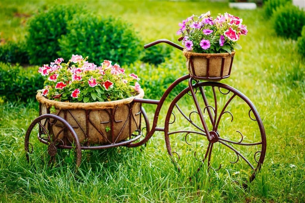 Клумба-велосипед в стиле прованс