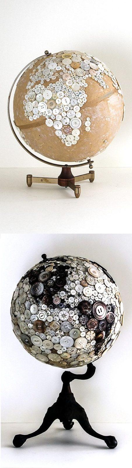 глобус из пуговиц