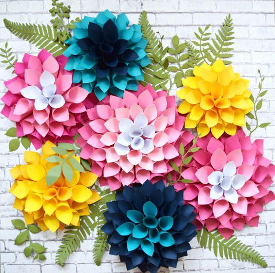цветная бумага цветы
