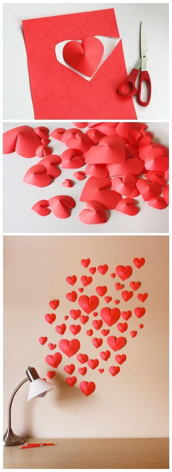 объемные сердечки на стене