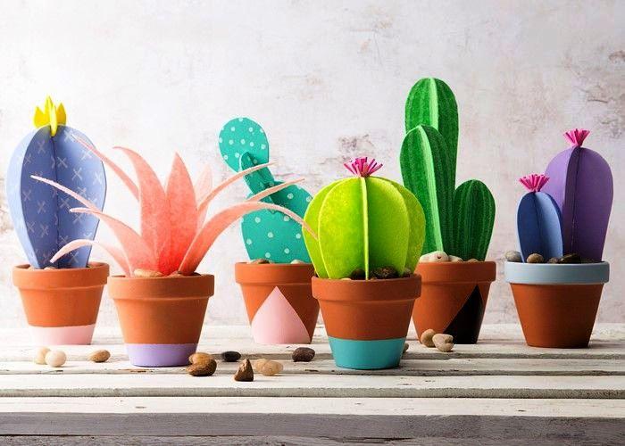 кактусы из цветной бумаги
