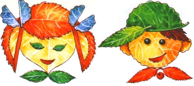 Аппликации из листьев для начальной школы