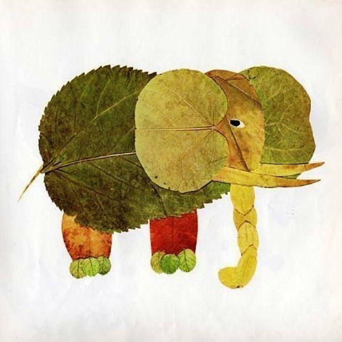аппликация из листьев слоник
