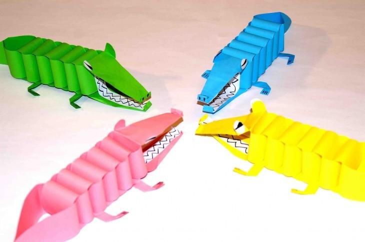 крокодилы из цветной бумаги