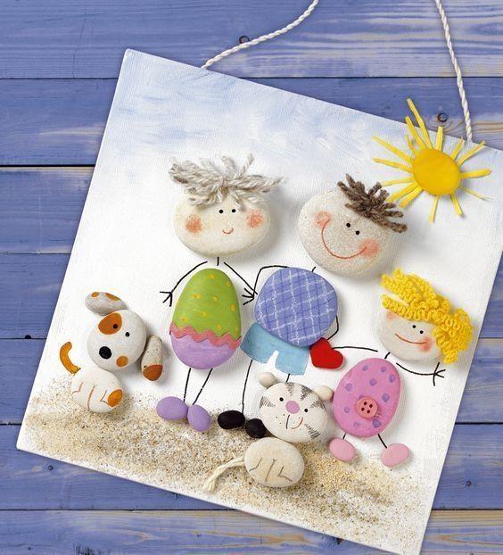 Поделки для детей из гальки и песка