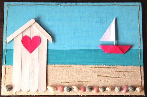 Картина из палочек от мороженого и ракушек
