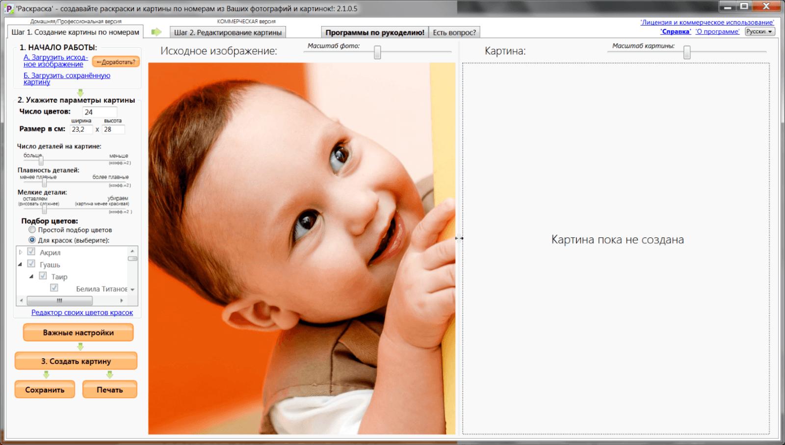 1. Интерфейс Раскраски после загрузки исходного фото