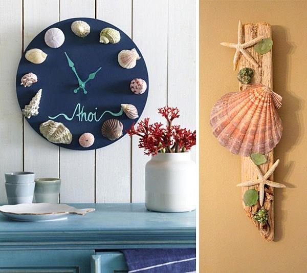интерьерные композиции с ракушками и морскими звездами