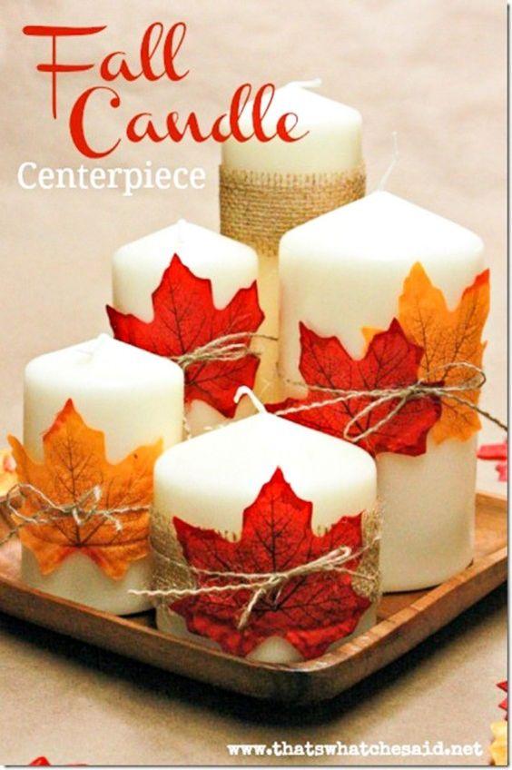 Свечи украшены листьями