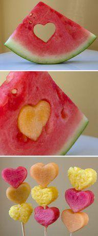 сердечки из арбуза