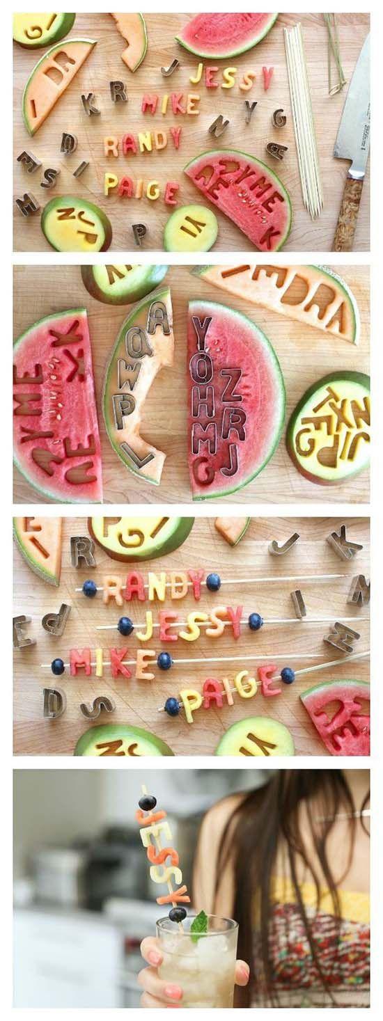 буквы из фруктов