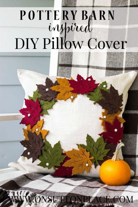 Осенняя подушка с листьями
