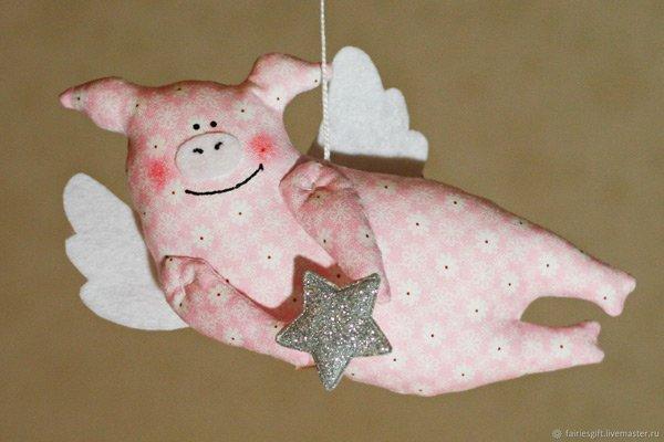Рождественские свинки в стиле Тильда