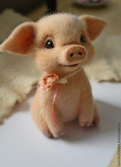 Валяние свинок из шерсти