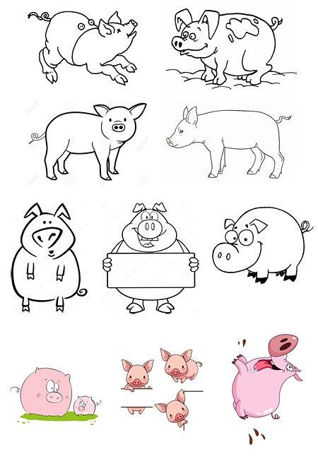 свинки шаблон