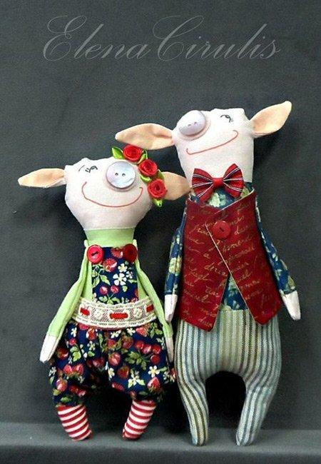 интерьерная кукла семья свинок