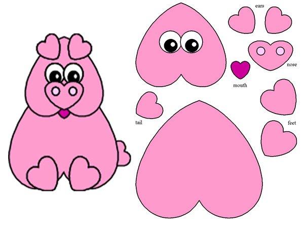 Аппликация свинка из сердечек