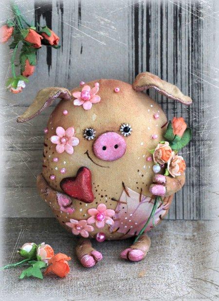 свинка в цветах