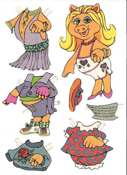 Бумажные куклы в виде свинок
