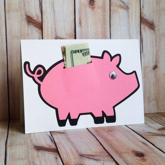Прямоугольная открытка со свинкой-копилкой