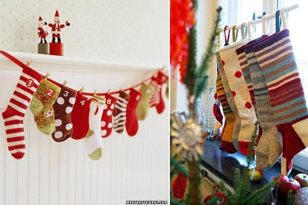 Новогодние носки на веревке
